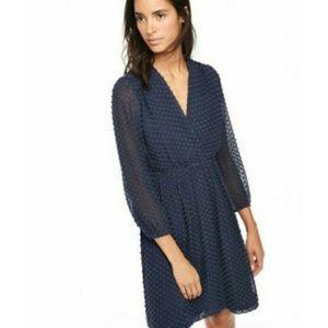 Boden Navy Textured Silk Dress Clip Dot 18 Long